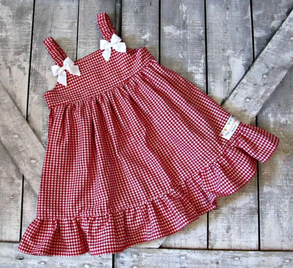 Girls Red Gingham Dress Baby Girl Dress Toddler by TootandPuddle
