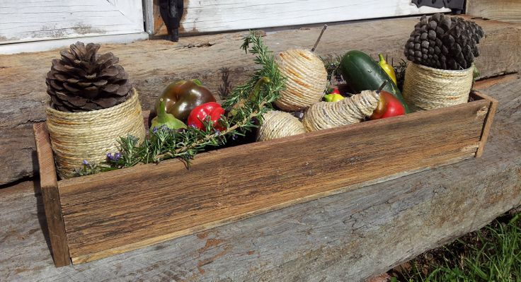 Homemade wooden centre piece with home grown produce and twine fruit..