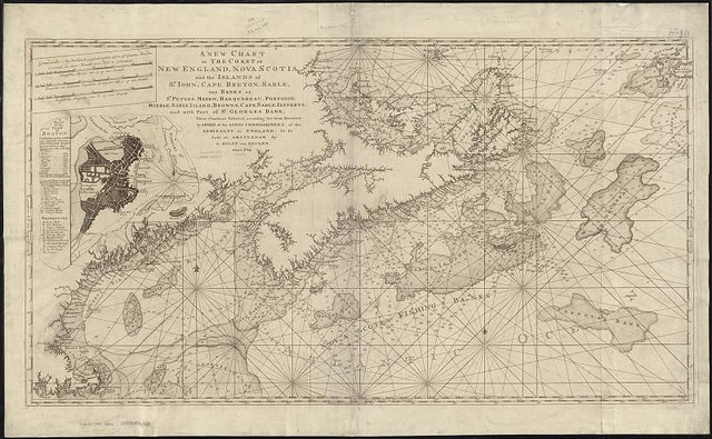 A new chart of the coast of New England, Nova Scotia, and the islands of St. Iohn, Cape Breton, Sable, the banks of St. Peters, Mizen, Banquereau, Porpoise, Middle, Sable Island, Browns, Cape Sable, Iefferys, and with part of St. Georges Bank by Norman B. Leventhal Map Center at the BPL, via Flickr