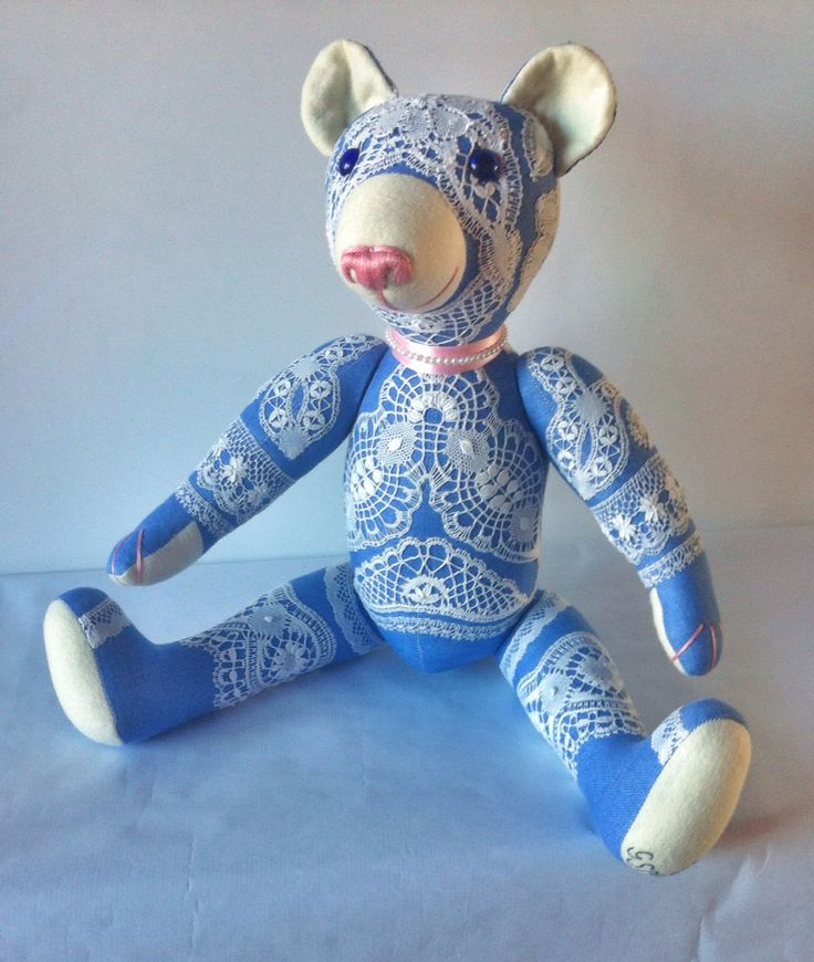 VILAN teddy bear Adult (20 15/32 In) 100% linen with lace Camariñas