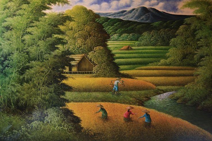Bali rice field painting