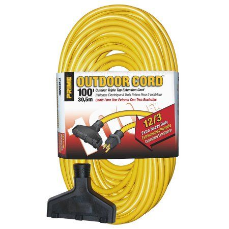 Prime Wire & Cable EC600835 100 Feet 12/3 Sjtw Triple-Tap Extra Heavy Duty Outdoor Extension Cord, Yellow, 3 Pack