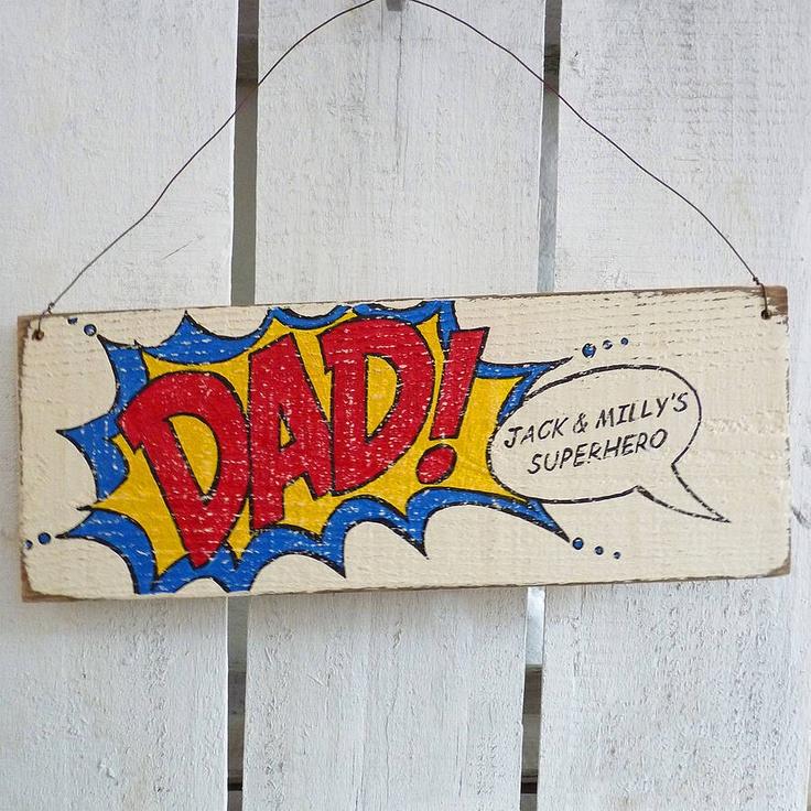 Personalised Superhero Dad Sign Birthday GiftsDiy