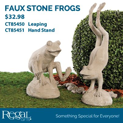"STONE LOOK LEAPING FROG  Joyful decor for your garden. These stone look frogs are ready for a summer of fun. Made of weather resistant polyresin. 10""H x 7""L x 7""W"