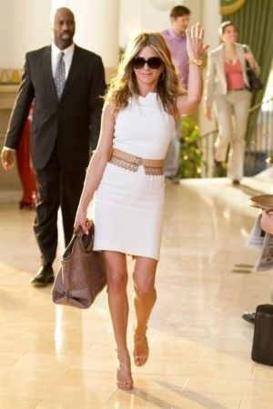 jennifer aniston in a white dress with belt. women's fashion and style.