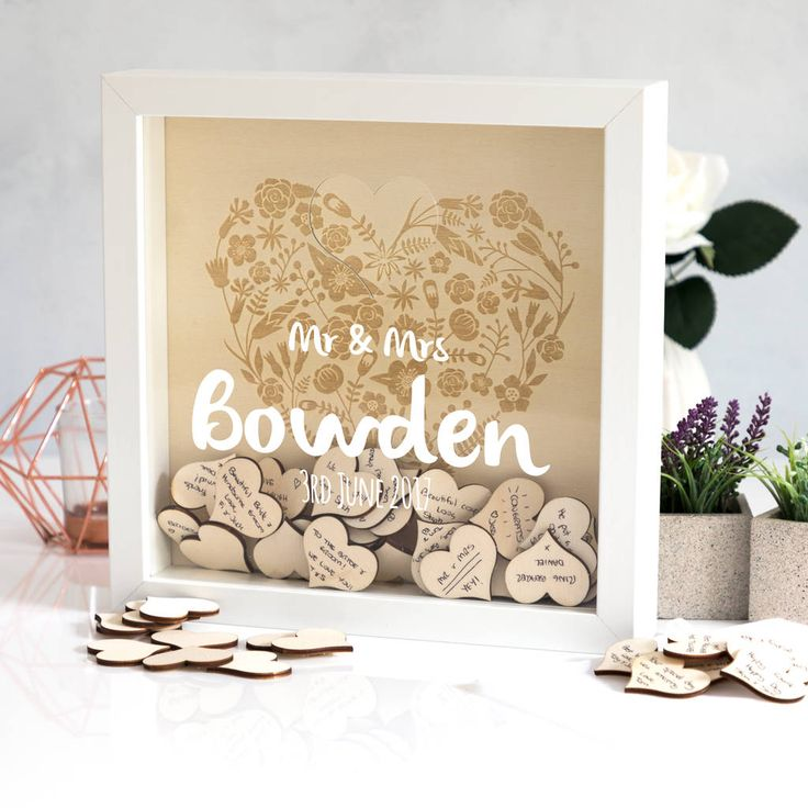 personalised wedding guest book box frame with hearts by mirrorin | notonthehighstreet.com