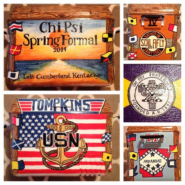 Chi Psi fraternity formal painted cooler.  #Navy #Sorority #Formal