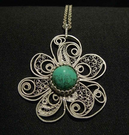 Fine silver and green turquoise