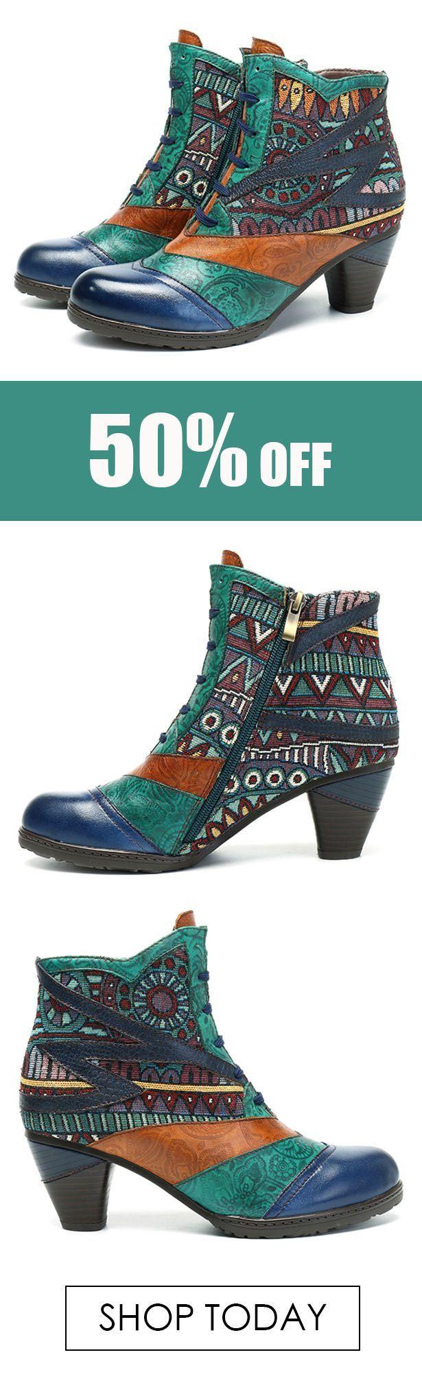 SOCOFY Bohemian Splicing Pattern Block Zipper Ankle Leather Boots. #winter #boots #style