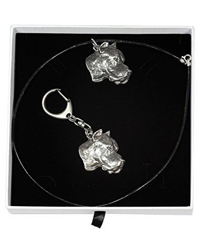 NEW, Dogo Argentino, dog keyring and necklace in casket, ELEGANCE set, limited edition, ArtDog * You can get more details by clicking on the image.