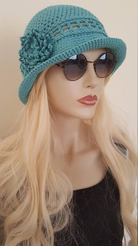 Woman Cotton Hat Crochet Summer Hat Bucket Hat Chemo Hatcrochet