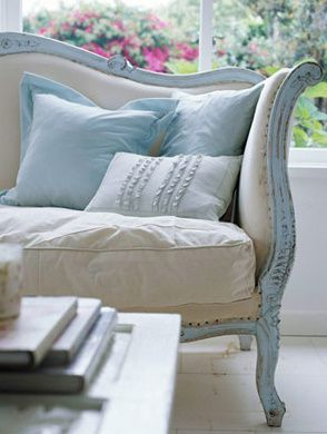 Pale Blue: Decor, Paintings Furniture, Couch, Blue, Shabby Chic, Colors, French Country, Vintage Sofas, Pillows