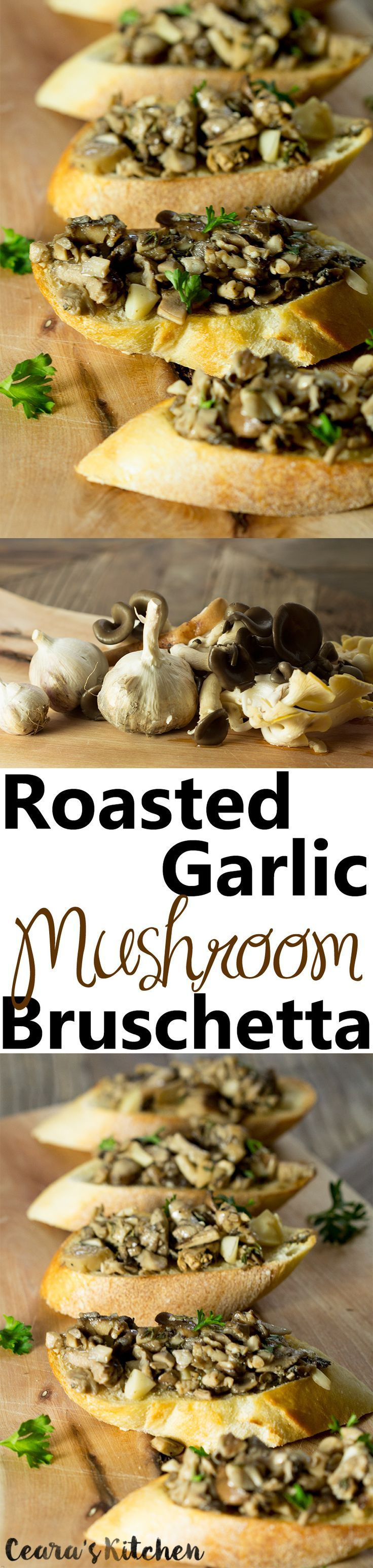 This Roasted Garlic Mushroom Bruschetta is so incredibly flavorful! It makes the perfect rich and flavorful #appetizer to serve at a party or family get-together! #vegan #vegetarian #mushrooms #food #veganfood