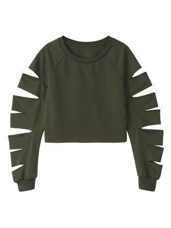 Casual Hollow O-neck Long Sleeve Women Sweatshirts at Banggood