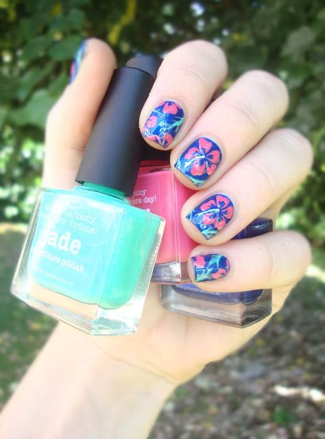 piCture pOlish Blog Fest 2013 hibiscus, hawaiian flowers nail art! #cocosnailss