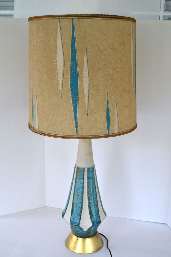 Vintage Retro Mid Century 1950s/1960s Swinging, Mad Men Style Blue & Gold Lamp with Fiberglass Shade--from Etsy.com