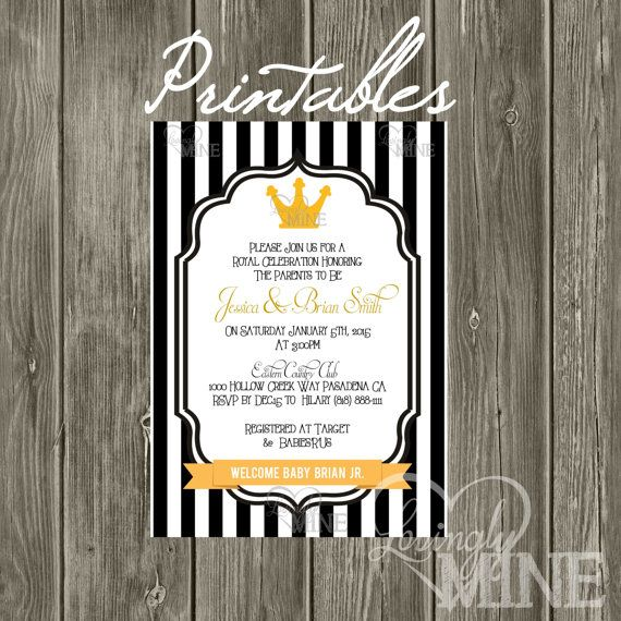 Little Prince Baby Shower Invitation Black And Gold T