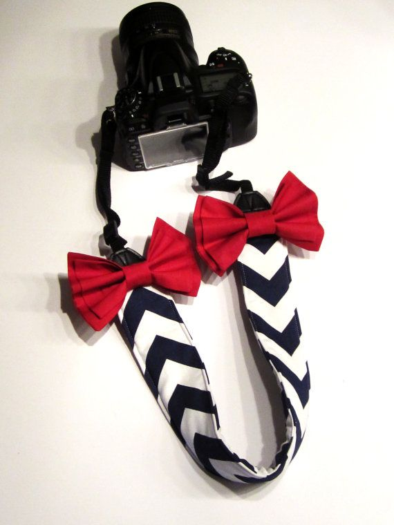 DSLR Camera Strap Cover, Canon and Nikon Compatible Navy & White Chevron with Red Bow
