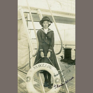 TITANIC Photographic post-card of Miss Madeleine Mellinger, a Titanic survivor, aboard SS Oceanic Sold for £1,260 inc. premium (Maidment)
