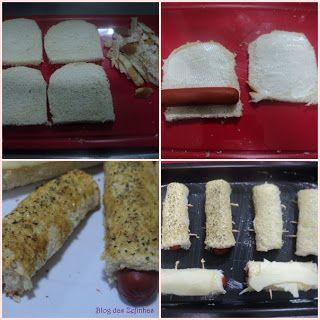 Enroladinhos de salsicha no pão de forma