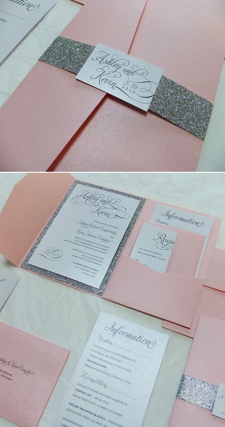 Glitter Wedding Invitation Pocketfold Wedding Suite
