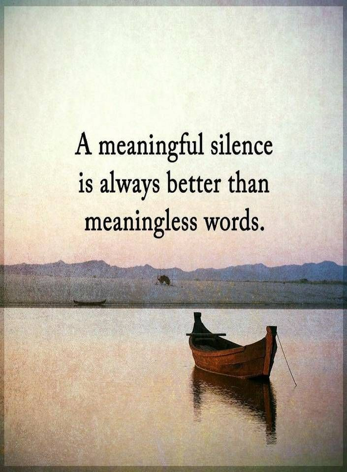Silence Quotes A meaningful silence is always better than meaningless words.