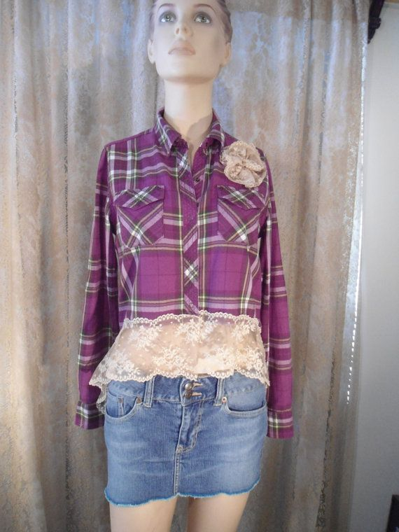 Size Medium Womens Upcycled Purple Plaid Shirt for the hippie boho beach surfer style redesigned lace uneven hem altered couture by LandofBridget