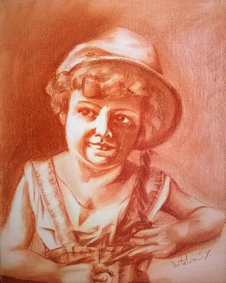 un dibujo retro en carbón sanguina #sanguine #charcoal #art #child #sketch #drawing #portrait