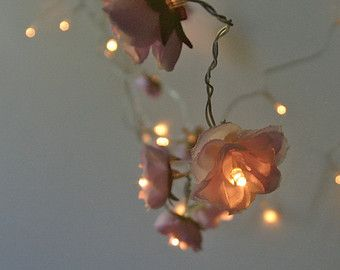 Rose Fairy Lights In Magenta Lilac And Apple White Rambling Rose String  Garland Flower Lights A Decorative String Of Mixed Rambling Roses In Magenta