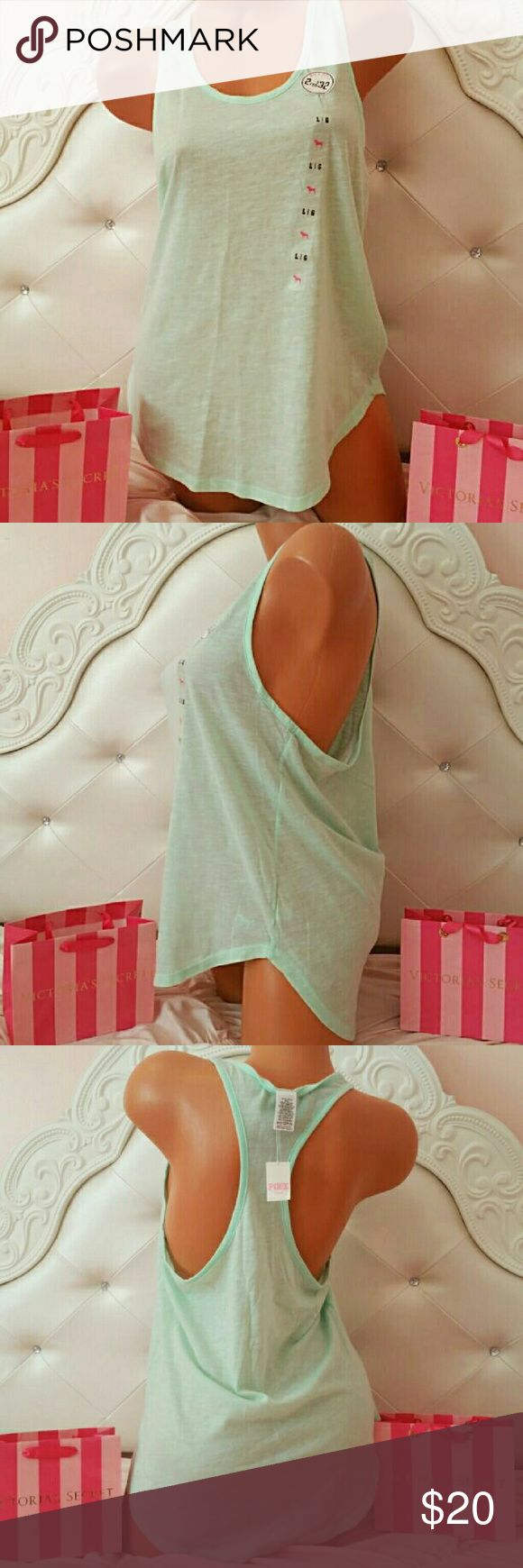 NWT PINK by VS mint green tank top size large New with tags PINK by victorias secret mint green tank top size large PINK Victoria's Secret Tops Tank Tops