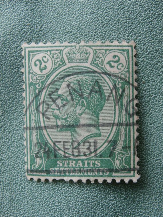 Straits Settlements Stamp Green 2 C Malaysia with King George V.  Postmarked Penang 24 FEB 31.