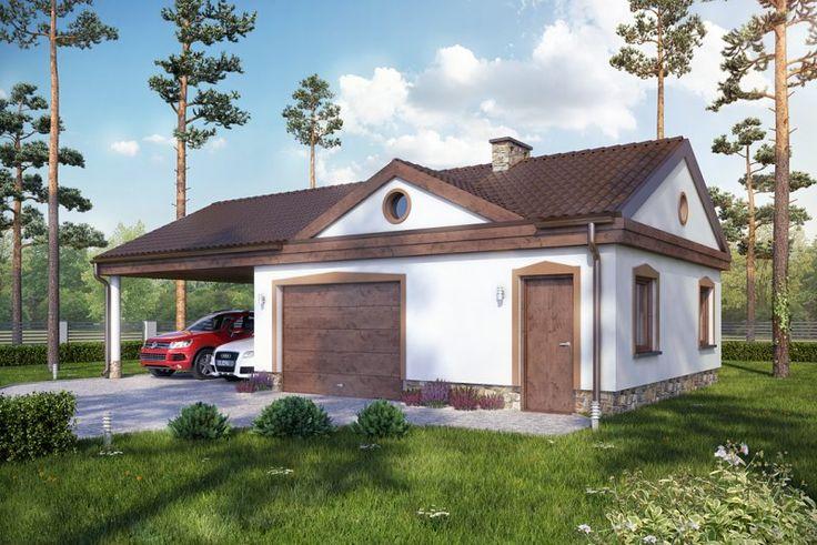 Projekt budynku gospodarczo - garażowego. Budynek parterowy bez podpiwniczenia, garaż jednostanowiskowy, wiata dwustanowiskowa.