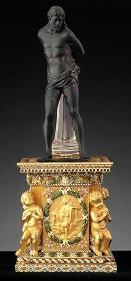 Christ à la colonne en jaspe sanguin et cristal de roche, acquis par Louis XIV en 1671 - Pierre : Italie, vers 1650 (?) - Monture : Paris, vers 1660-1670 - Paris, Musée du Louvre