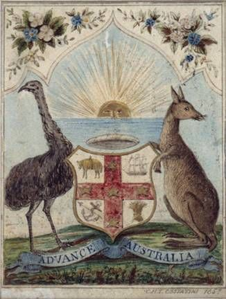 Title: Advance Australia [Design for an Australian coat of arms]  Creator: Costantini, Charles Henry Theodore, *ca. 1803-†1860  Date: 1857