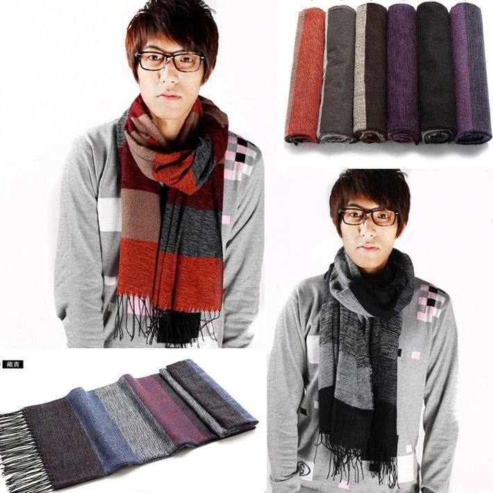 2013 Fall new Striped designs men's fashion scarf long scarf warm scarf 6 colors  free shipping PWM044 $12.99
