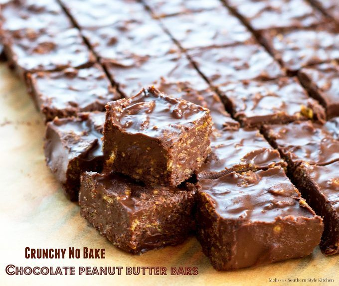 Crunchy No-Bake Chocolate Peanut Butter Bars - melissassouthernstylekitchen.com