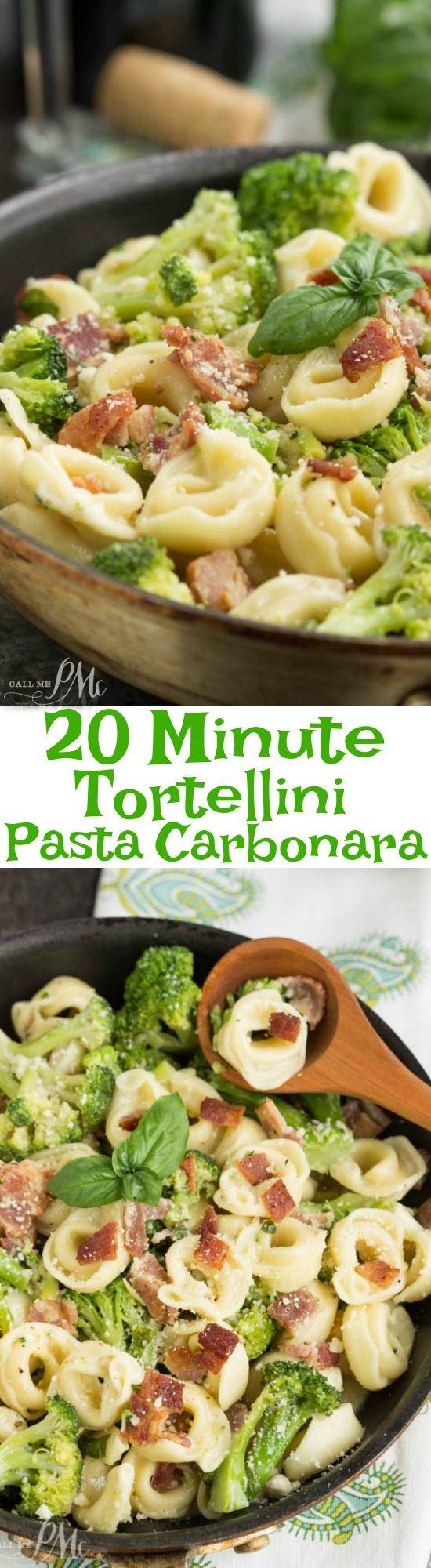 20 Minute Tortellini Pasta Carbonara http://www.callmepmc.com/20-minute-tortellini-pasta-carbonara/?utm_campaign=coschedule&utm_source=pinterest&utm_medium=Paula%20%7C%20CallMePMc.com&utm_content=20%20Minute%20Tortellini%20Pasta%20Carbonara