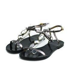16 лет новые низкие кожаные сандалии плоские с горный хрусталь украшен T-супинатор пряжки ремешков сандалии
