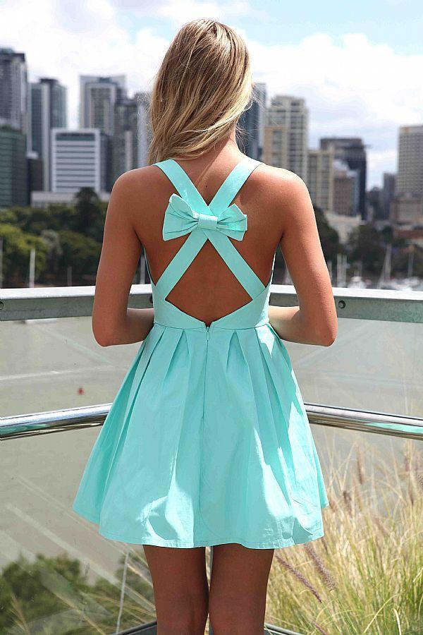 Found my rehearsal dinner dress!:) Blue Sleeveless Mini Dress with Open Cross Bow Back
