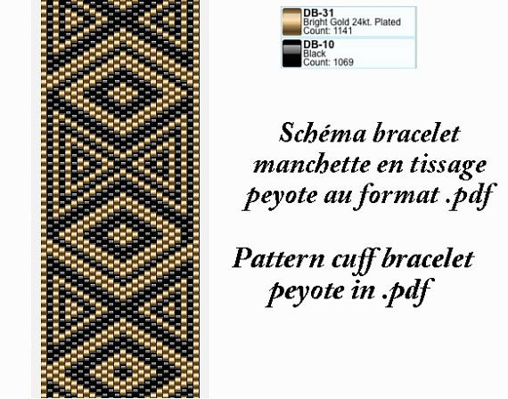 Cuff bracelet pattern black and gold for peyote in por FetedesKdo1