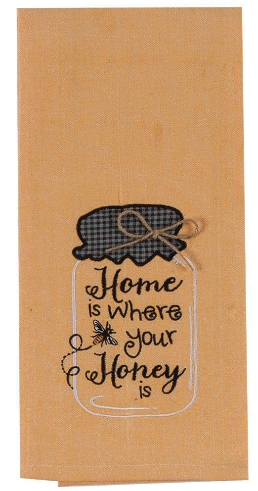"""Embroidered Chambray Tea Towel with Mason Jar Design.  Embroidery saying: """"Home is where your Honey is"""". Appliqued top and twine bow accent. Color: Yellow 10"""