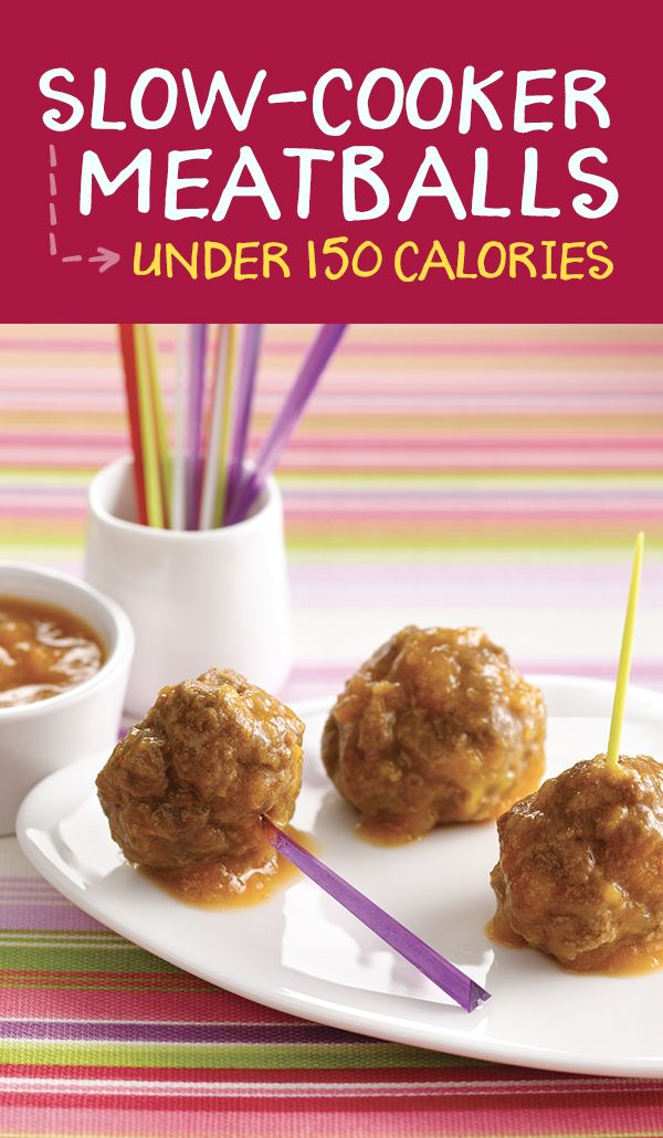 Slow-cooker meatballs! Studded w/ chunks of mango & simmered in a peach-apricot sauce, these slow-cooked meatballs are bursting w/ deliciousness & full of protein... and they're super easy to make! 3 meatballs + 2 tbsp. sauce: 135 calories | 2.5g fat | 12g protein