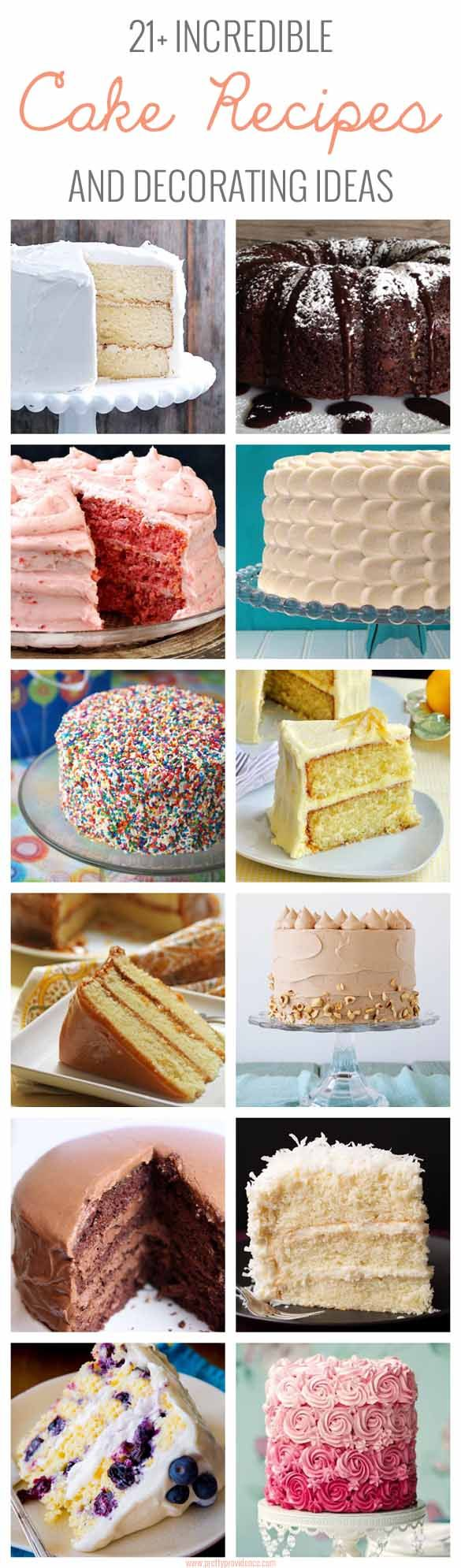 21+ Incredible cake recipes and easy decorating ideas! Seriously every single one of these is beautiful and delicious! Definitely something for all of your loved ones!