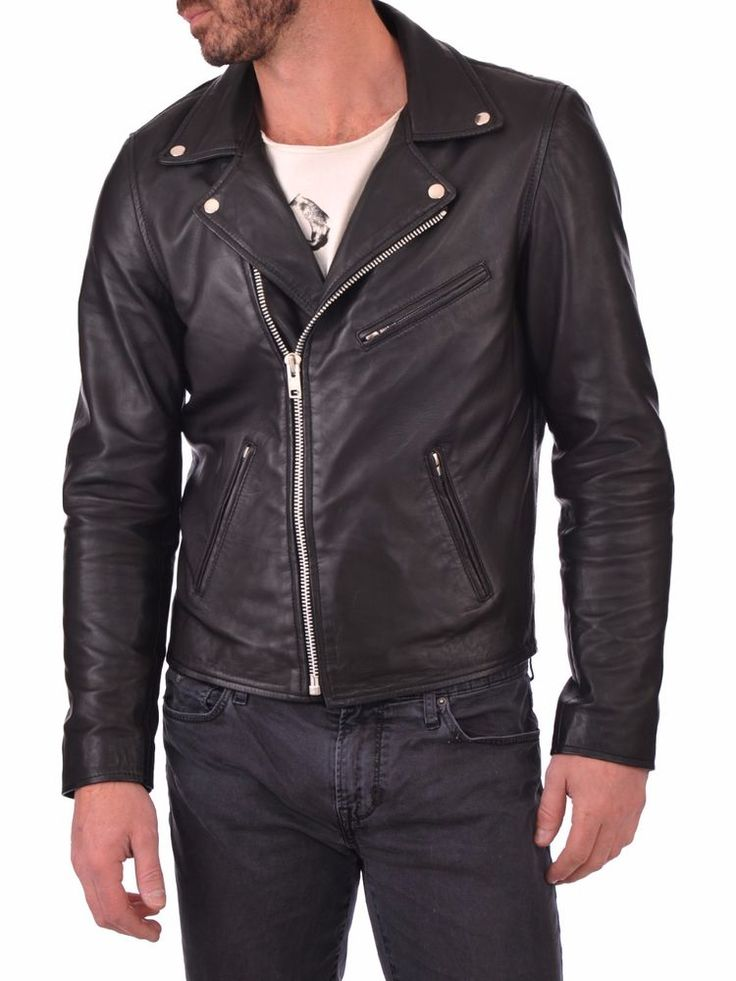 Lambskin Leather Jacket Genuine Mens Stylish Motorcycle Biker Black slim fit X79 #WesternOutfit #Motorcycle