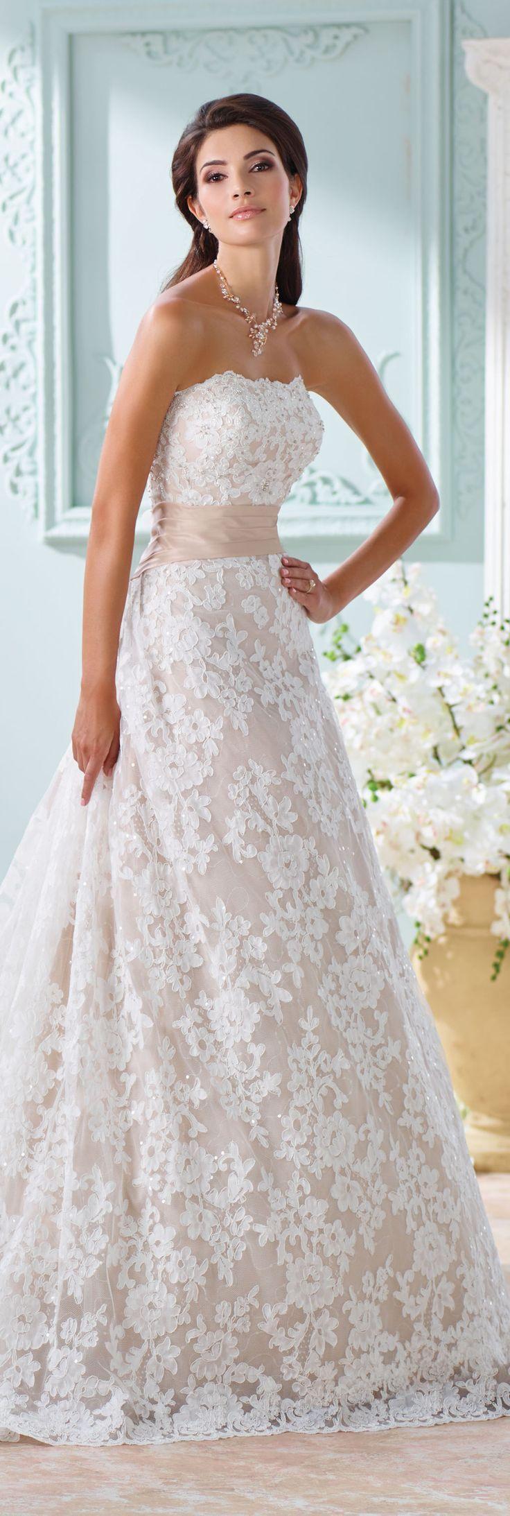 The David Tutera for Mon Cheri Spring 2016 Wedding Gown Collection - Style No. 116219 Yalene #laceweddingdress