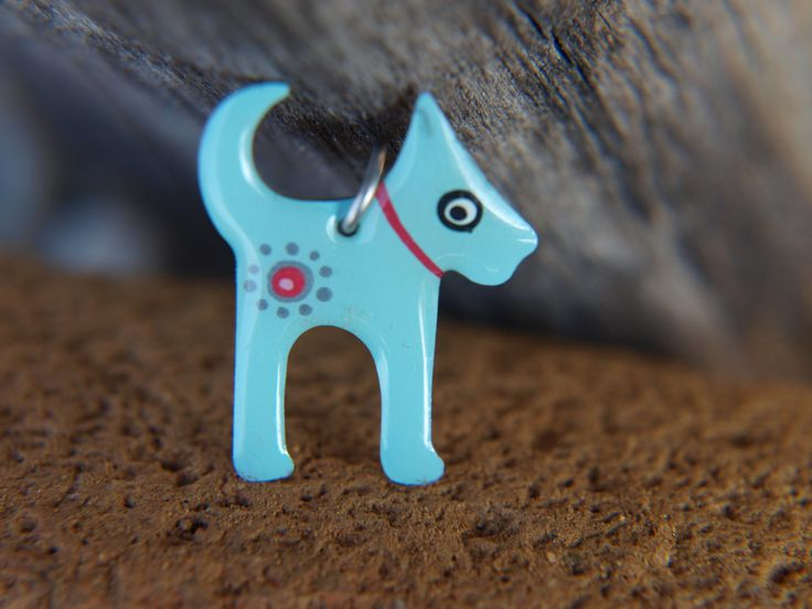 Dog Pendant, Enameled Metal Stainless Steel, Handpainted Jewelry, Turquoise Blue Pendant Necklace, Playful Style, Dog Lover Gift Idea, by #CinkyLinky on Etsy