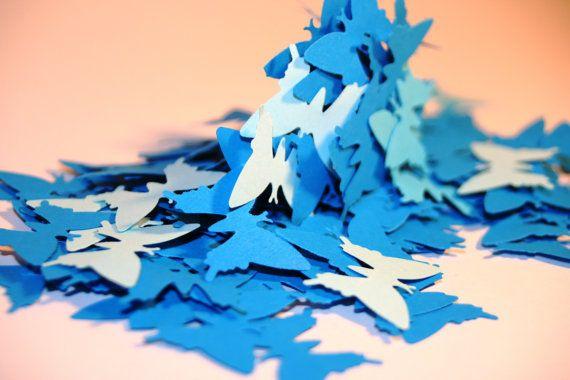 250 Paper BUTTERFLIES, Diecut butterflies, blue paper butterflies, mixed color from light to dark blue, wedding confetti