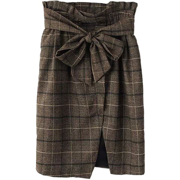 Choies Brown Plaid Bowknot Front Slit High Waist Pencil Skirt ($33) ❤ liked on Polyvore featuring skirts, bottoms, faldas, brown, pencil skirts, high waisted pencil skirt, high waisted knee length skirt, front slit skirt and high waist knee length pencil skirt