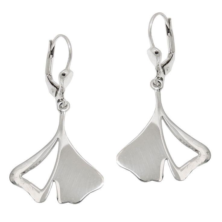 leverback earrings ginkgo leaf 925