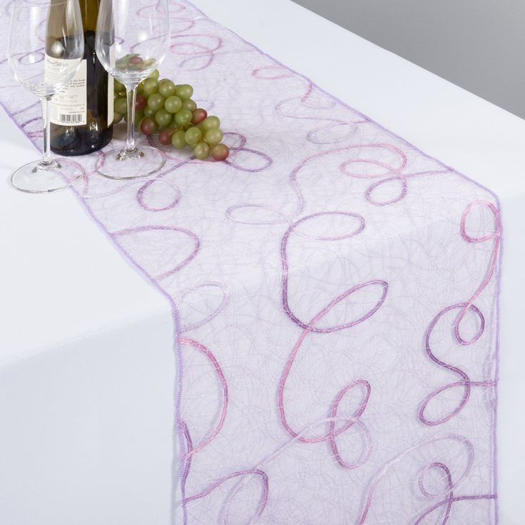 Lavender Embroidered Web Organza Table Runner